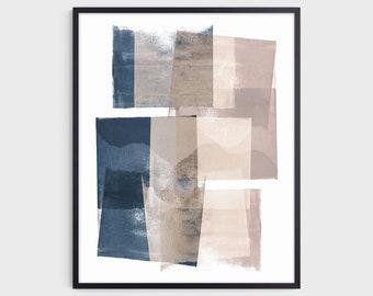 Navy Blue & Blush Pink Geometric Abstract Painting Print, Modern Minimalist Wall Art, Fine Art Paper or Canvas