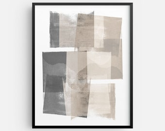 Modern Neutral Geometric Contemporary Grey and Beige Abstract Painting INSTANT DIGITAL DOWNLOAD