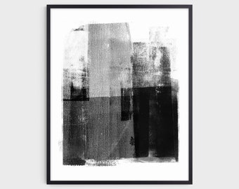 Black and White Contemporary Minimalist Abstract Art Print, Modern Industrial Style Home Decor, Fine Art Paper or Canvas