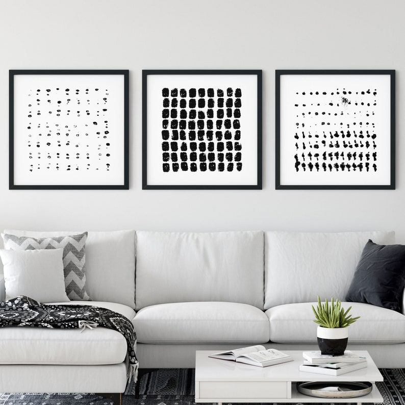 Modern Minimalist Bohemian Wall Art Black and White Contemporary Abstract Dot Pattern Painting Set of 3 Square Prints