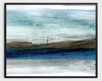 Blue Abstract Landscape Painting Print, Contemporary Minimalist Watercolor, Fine Art Paper or Canvas