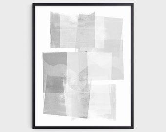 Abstract Geometric Art Print in Gray & White, Modern Minimalist Scandinavian Style Wall Art, Fine Art Paper or Canvas