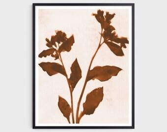 Terracotta Floral Boho Print, Modern Farmhouse Style Botanical Wall Decor, Fine Art Paper or Canvas