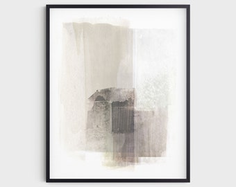 Neutral Beige & Brown Abstract Painting Wall Art Print, Modern Minimalist Decor, Fine Art Paper or Canvas