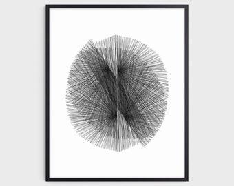 Black and White Mid Century Modern Geometric Abstract Print, Minimalist Scandinavian Style Wall Art