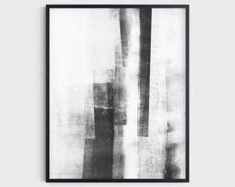 Modern Industrial Abstract Black and White Wall Art Print, Fine Art Paper or Canvas
