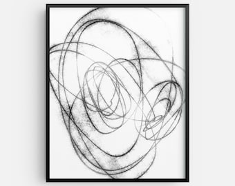 Modern Minimalist Black and White Abstract Line Drawing INSTANT DIGITAL DOWNLOAD, Scandinavian Style Printable Wall Art