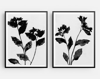 Black and White Set of 2 Flower Prints, Moody Floral Painting, Modern Boho Farmhouse Wall Art, Fine Art Paper or Canvas