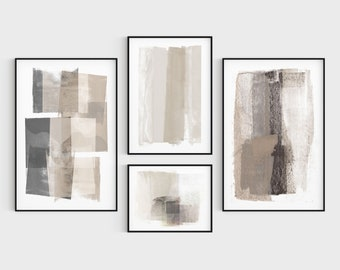 Beige and Grey Neutral Modern Abstract Painting Prints 4 Piece Gallery Wall Set, Fine Art Paper or Canvas