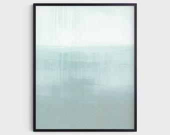 Aqua Blue Green Modern Minimalist Abstract Seascape Print, Contemporary Coastal Wall Art, Fine Art Paper or Canvas