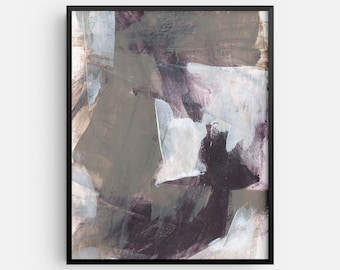 Contemporary Abstract Painting INSTANT DIGITAL DOWNLOAD - Neutral Taupe and Black Modern Wall Art