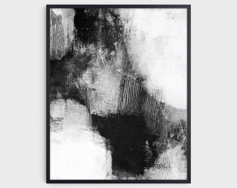 Black and White Contemporary Abstract Painting Print, Modern Statement Art, Fine Art Paper or Canvas