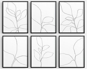 Black and White Botanical Line Drawing Set of 6 INSTANT DIGITAL DOWNLOADS, Minimalist Plant Illustration, Modern Farmhouse Wall Art