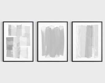 Grey & White Contemporary Abstract Painting Set of 3 Prints, Modern Minimalist Wall Art, Fine Art Paper or Canvas
