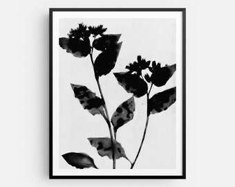 Black and White Flower Print, Moody Floral Painting, Modern Boho Farmhouse Wall Art, Fine Art Paper or Canvas