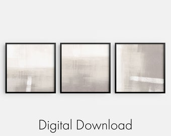 Square Set of 3 Beige and Taupe Minimalist Abstract Landscape INSTANT DIGITAL DOWNLOADS, Modern Neutral Home Decor