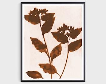 Terracotta Flowers Farmhouse Print, Modern Bohemian Style Wall Decor, Fine Art Paper or Canvas