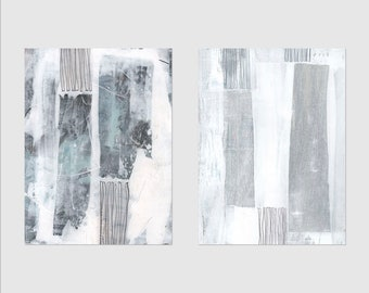 Grey & White Wall Art, Abstract Painting Prints, Set of 2 Prints, Minimalist Art, Neutral Decor, Printable Art, Downloadable Prints
