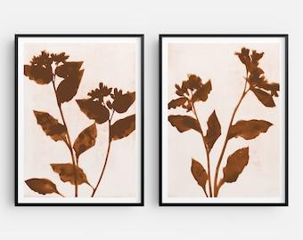 Terracotta Flowers Farmhouse Print Set of 2, Modern Bohemian Style Botanical Wall Decor, Fine Art Paper or Canvas
