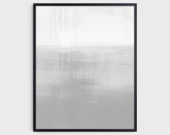 Minimalist Abstract Landscape Painting Print in Gray and White, Fine Art Paper or Canvas
