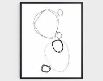 Black and White Modern Minimalist Abstract Line Drawing Print, Contemporary Scandinavian Style Wall Art