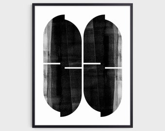 Black and White Mid Century Modern Geometric Abstract Print, Contemporary Minimalist Wall Art, Fine Art Paper or Canvas