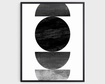 Mid Century Modern Black and White Geometric Abstract Print, Contemporary Minimalist Wall Art, Fine Art Paper or Canvas
