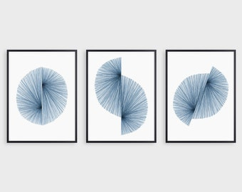 Indigo Blue Mid Century Modern Prints, Navy Blue Abstract Geometric Wall Art, Scandinavian Print Set of 3