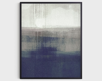 Navy Blue & Grey Modern Minimalist Abstract Landscape Painting Print, Fine Art Paper or Canvas
