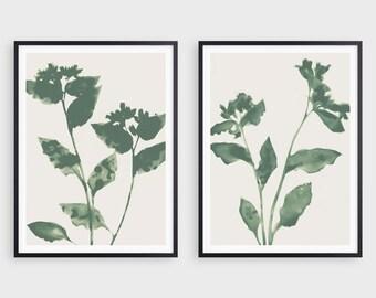 Sage Green Flowers Print Set of 2, Botanical Farmhouse Wall Art,  Modern Boho Decor, Fine Art Paper or Canvas