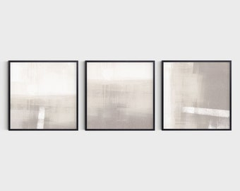Neutral Abstract Landscape Set of 3 Square Prints, Fine Art Paper or Canvas