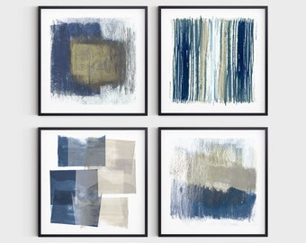 Blue and Beige Set of 4 Square Contemporary Abstract Prints, Modern Minimalist Wall Art, Fine Art Paper or Canvas