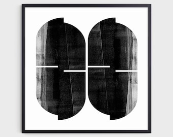Black and White Square Modern Geometric Abstract Print, Mid Century Style Home Decor, Contemporary Minimalist Wall Art