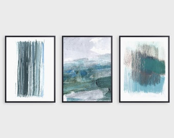 Teal Blue Green Contemporary Minimalist Abstract Watercolor Painting Print Set of 3, Modern Coastal Wall Art