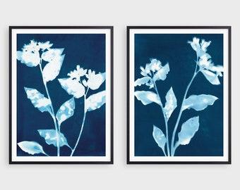 Set of 2 Flower Silhouette Cyanotype Reproduction Prints, Indigo Blue Botanical Farmhouse Wall Art