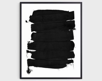 Black Minimalist Abstract Brush Stroke Painting Print, Modern Industrial Wall Art, Fine Art Paper or Canvas