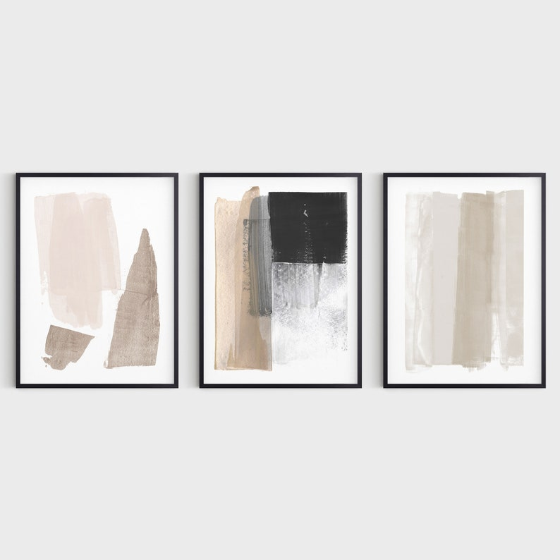 Neutral Minimalist Painting Set of 3 Modern Abstract Prints image 1