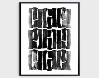 Black Ink Painting Abstract Brush Strokes Print, Modern Minimalist Wall Art, Fine Art Paper or Canvas