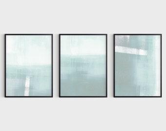 Light Aqua Blue Green Minimalist Abstract Seascape Print Set of 3, Modern Coastal Wall Art, Fine Art Paper or Canvas