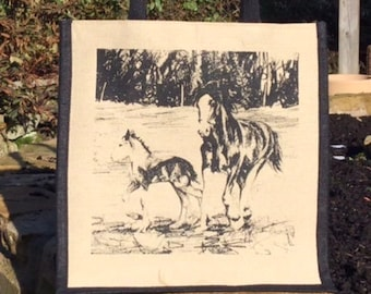 Horse and Foal Shopping Market Jute Bag  Clydesdale Lover Fan Useful Eco Gift Natural Environmentally Friendly Hand Screen Printed  Handmade