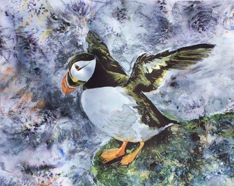 Puffin Tea Dish Towel Cotton Sea Bird Life Watcher Lover Fan Gift White Grey Drying Cloth Kitchen Decor Hayley Mills Art