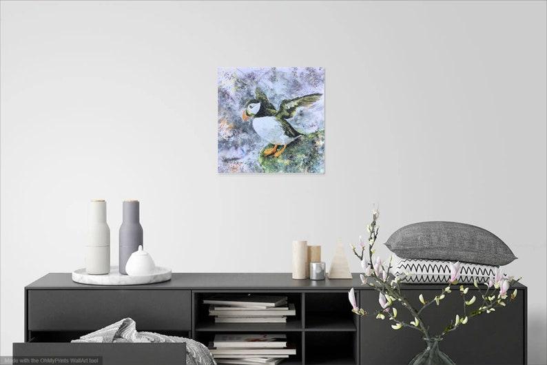 Puffin Canvas Art Print Square Medium Wildlife Sea Bird Watcher Lover Fan Gift Grey Green Wall Art Picture Home Decor Hayley Mills