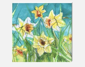 Large Teal Floral Canvas Art Print Square Spring Flower Daffodil Picture Blue Yellow Turquoise Wall Home Decor Hayley Mills hayleymillsart