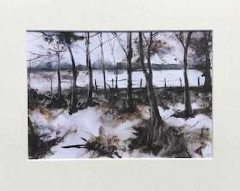 Winter in the Woods A4 Mounted Art Print Woodland Landscape Grey White Black Monochrome Wall Art Home Decor Hayley Mills Art hayleymillsart