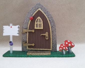 Opening Fairy Door. Freestanding glitter pixie door. Shelf Sitting elf door for children's room. Imaginative role play gift for kids.