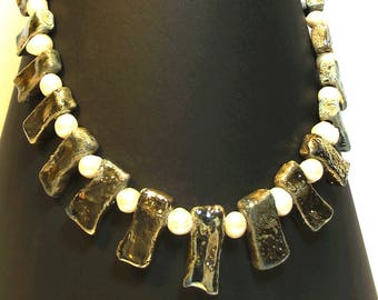 Beaded Necklace and Raku ceramics