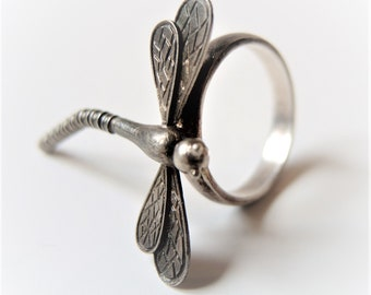 Dragonfly ring, 925 sterling silver