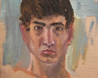 Vintage oil painting man portrait study