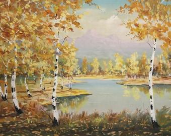 1991 gouache painting landscape signed