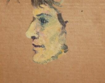 Vintage oil painting portrait study